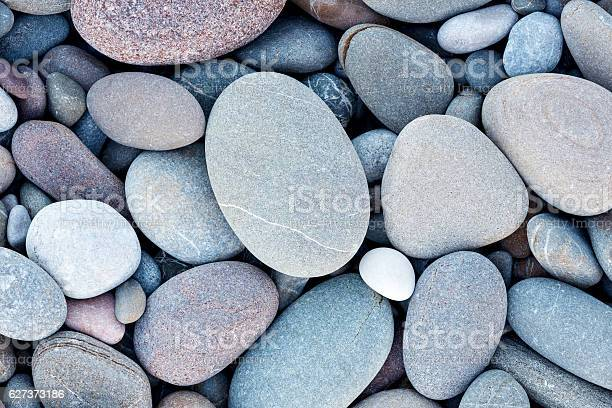 Photo of Abstract smooth round pebbles sea texture background
