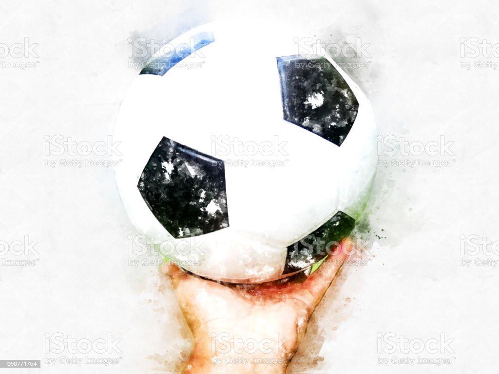 Abstrakte Fussball Oder Fussball Auf Aquarell Hintergrund