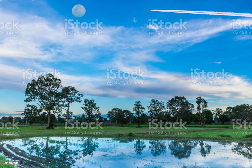 Abstract soft focus the silhouette of the sunset with the water,the plowing, tillage, picking, tillage, before planting, cultivation, for agriculture with the beautiful sky and cloud in Thailand. royalty-free stock photo