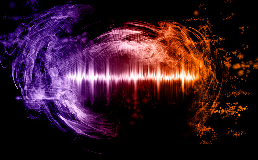 Abstract soundwave with smoke shapes