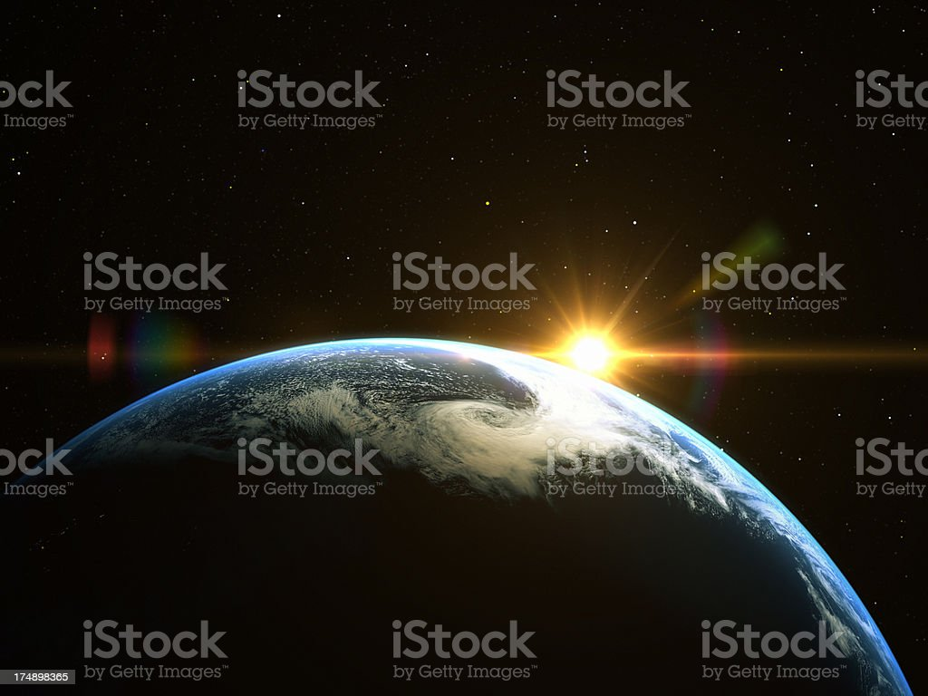 Abstract space sunrise stock photo