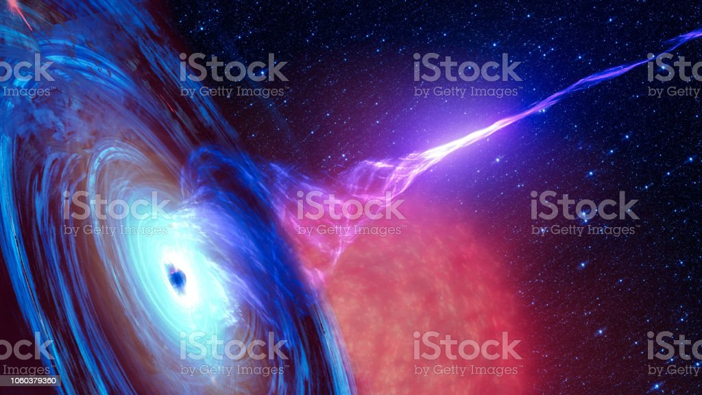 Abstract space wallpaper. Black hole with nebula over colorful stars and cloud fields in outer