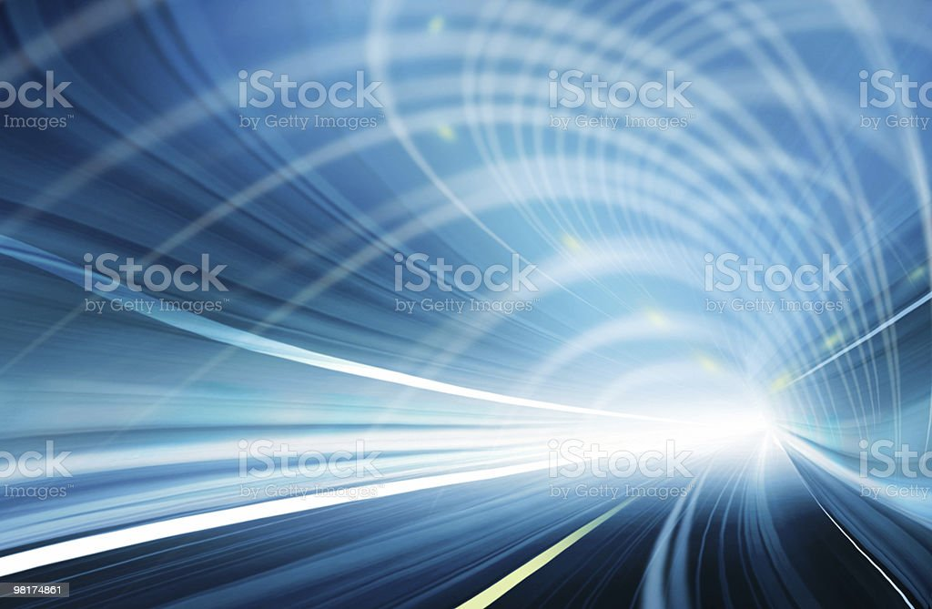 Abstract Speed motion in blue highway tunnel royalty-free stock photo