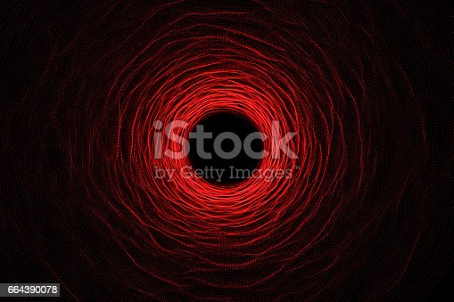 istock Abstract speed tunnel warp in space, wormhole or black hole, scene of overcoming the temporary space in cosmos. 3d rendering 664390078