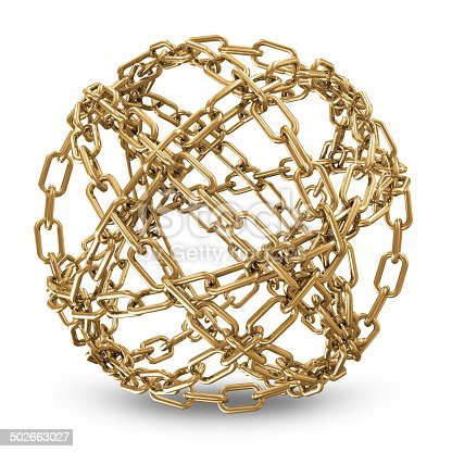 istock Abstract Sphere Made From Golden Chains on white background 502663027