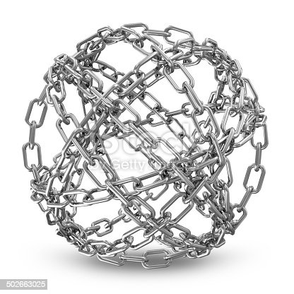 istock Abstract Sphere Made From Silver Chains on white background 502663025