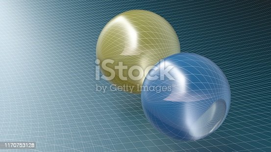 istock Abstract spheres over blue surface background - 3d rendering illustration 1170753128