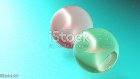 istock Abstract spheres over blue surface background - 3d rendering illustration 1170753342