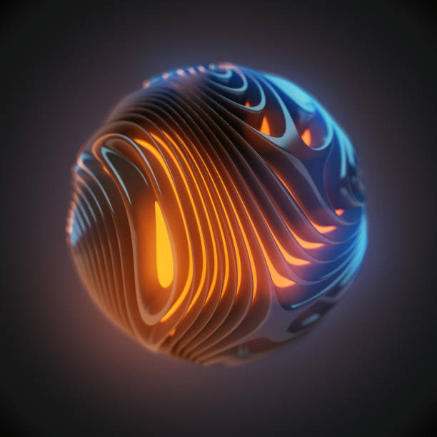 Abstract spherical form 3D render stock photo