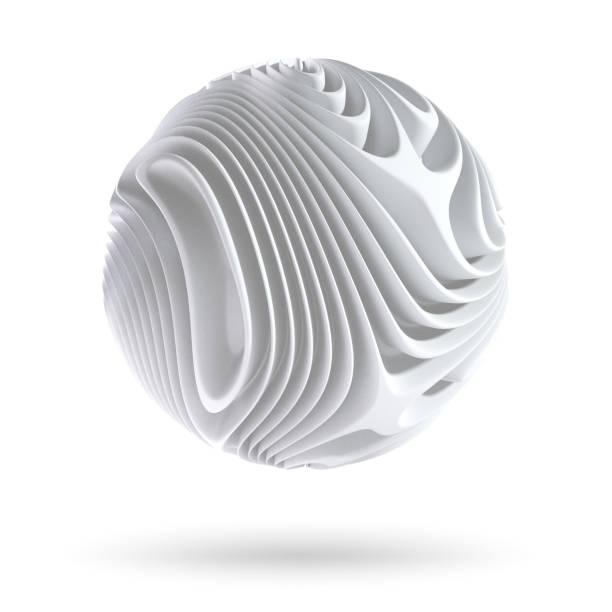abstract sferische vorm geïsoleerd op witte achtergrond - driedimensionaal stockfoto's en -beelden
