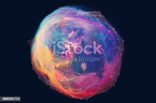 istock Abstract spherical network background 866084724