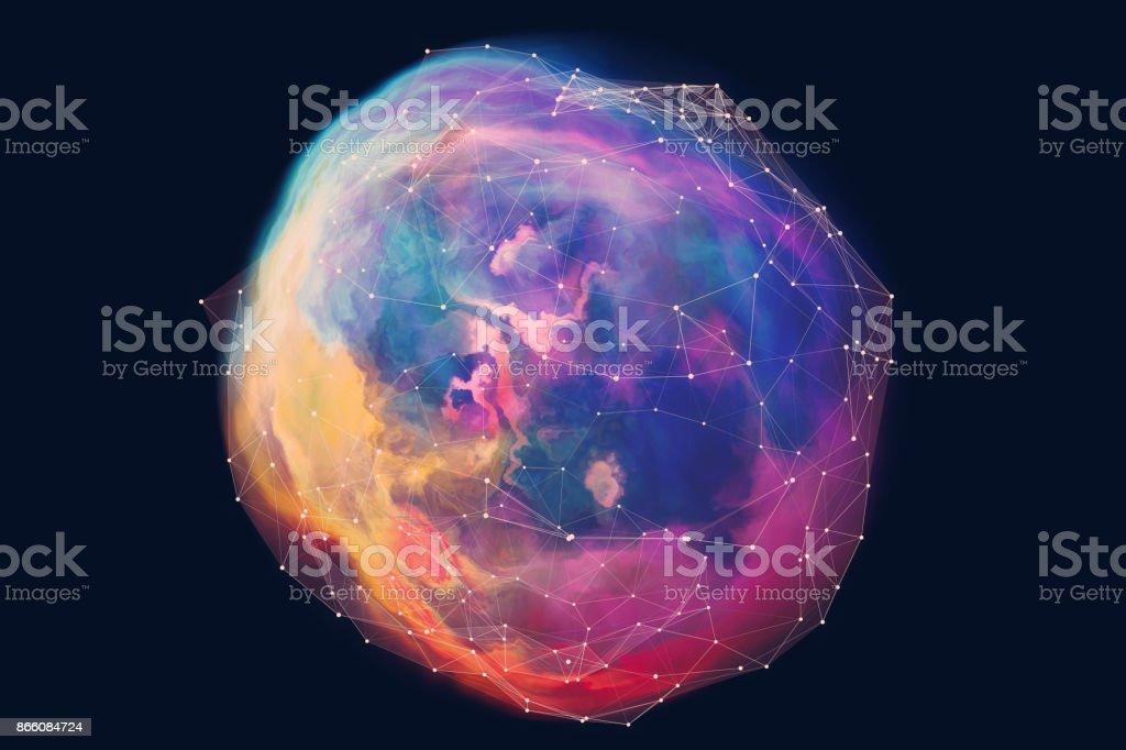 Esféricas abstrato fundo de rede - foto de acervo