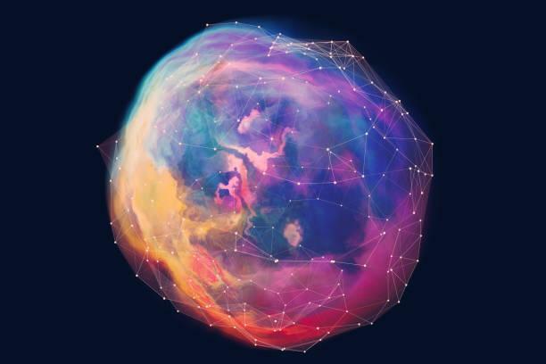 abstrakte kugelförmige netzwerk hintergrund - cosmic abstract background with stock-fotos und bilder