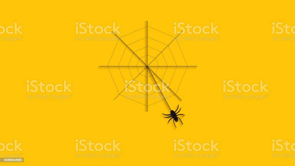 Abstract spider oscillate hang on web, Trick or treat Happy Halloween Party.Orange background. stock photo