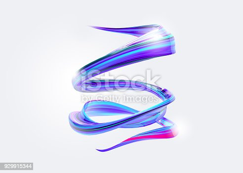 istock 3D Abstract Spiral Brush Stroke. Trendy Colorful Paint Splash. Liquid Ribbon. Wave in Motion on Isolated Background. Pink, Blue, Purple Color Ink. Design for Wallpaper, Advertising, Banner, Poster. 929915344