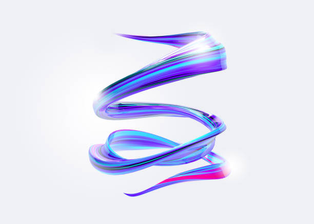 3D Abstract Spiral Brush Stroke. Trendy Colorful Paint Splash. Liquid Ribbon. Wave in Motion on Isolated Background. Pink, Blue, Purple Color Ink. Design for Wallpaper, Advertising, Banner, Poster. stock photo