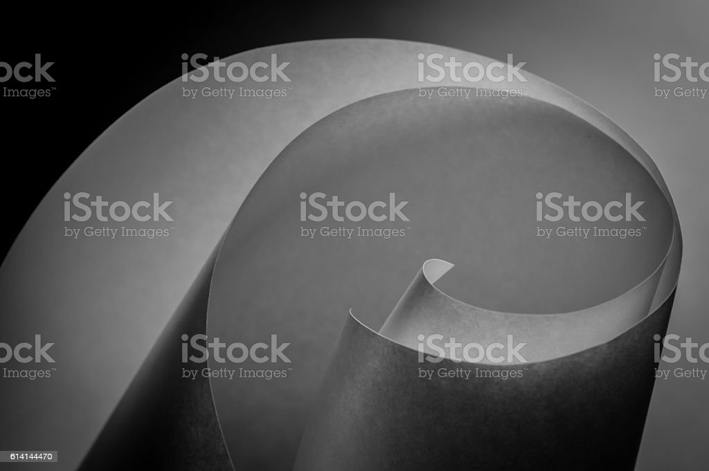abstract spiral sheets of white paper stock photo