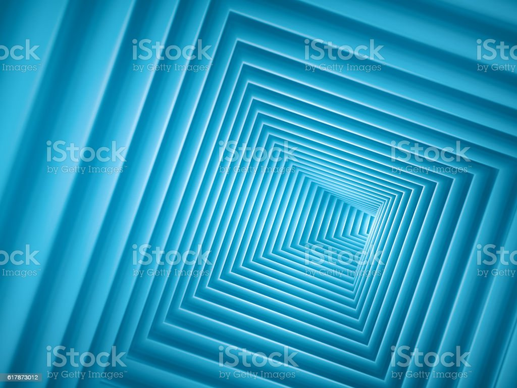 Abstract spiral square tunnel background stock photo