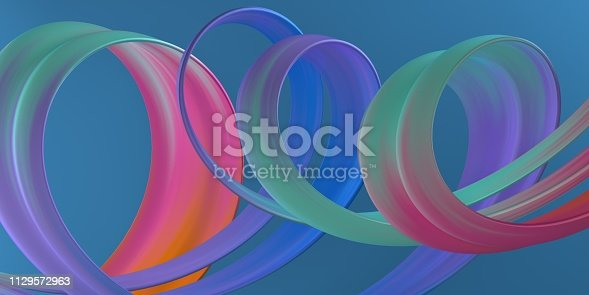929915344istockphoto 3D Abstract Spiral Stroke. Trendy Colorful Paint Splash. Wave in Motion on Isolated Blue Background. Pink, Blue, Purple Color. Design for Wallpaper, Advertising, Banner, Poster 1129572963