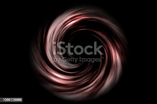 istock Abstract spiral tunnel with red smoke on black background 1066126966