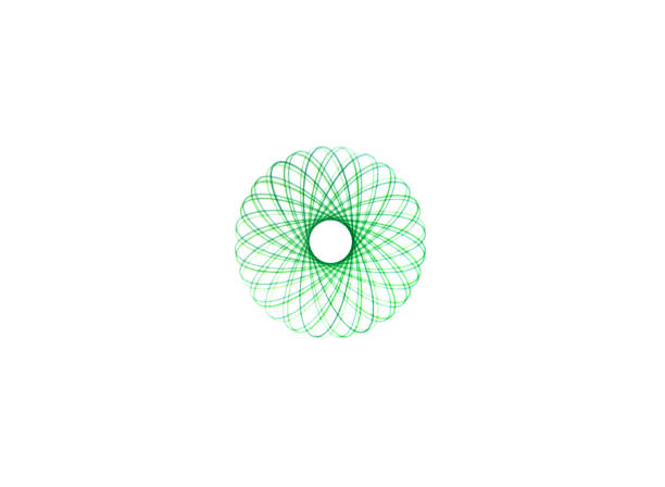 abstract spirograph writing designs round symbol - guilloche stock photos and pictures