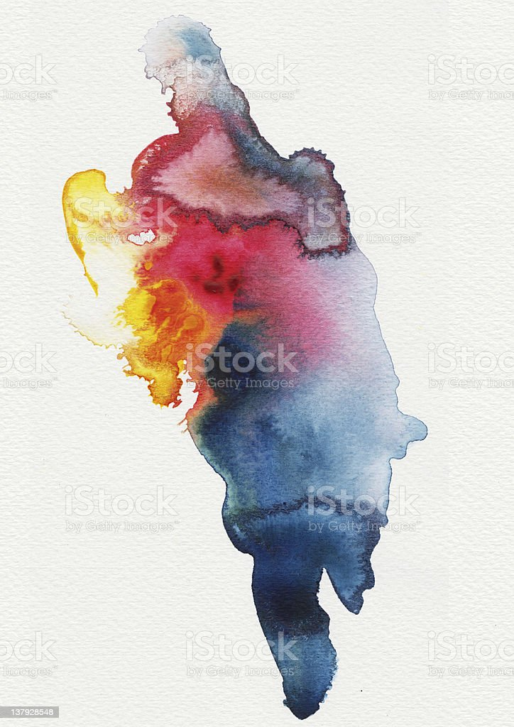 Abstract spread watercolors stock photo
