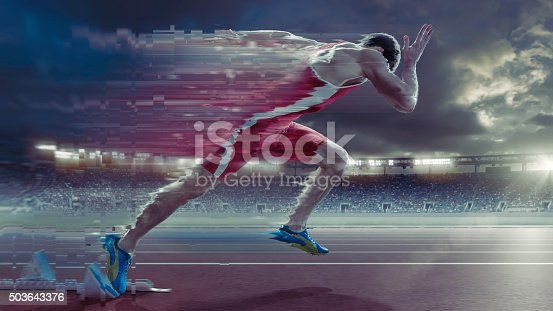 A heavily manipulated and distorted semi abstract image of a professional male sprinter bursting away from starting blocks on an outdoor running track. The action takes place in a generic outdoor athletics floodlit stadium full of spectators under cloudy evening sky at sunset.  The athlete is wearing a generic strip.