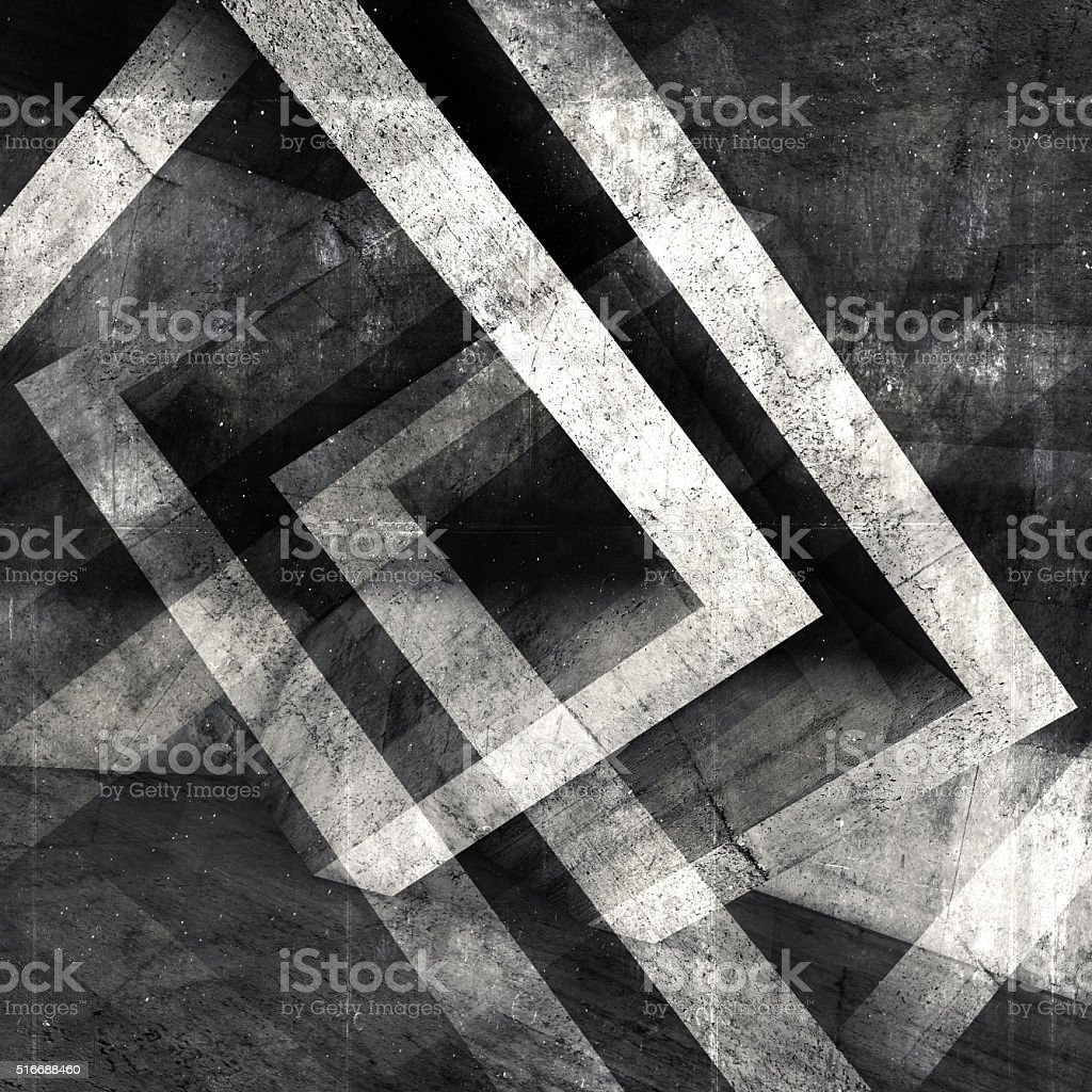 Abstract square concrete 3 d background stock photo