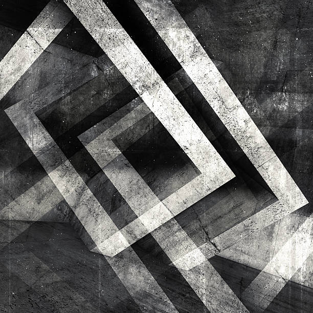 abstract square concrete 3 d background - bw patterns stock photos and pictures