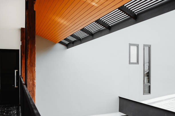 Abstract square shape architecture gray and orange stock photo