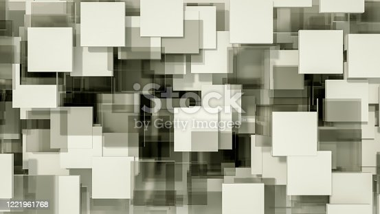687269072 istock photo 3D Abstract Square Shape Pattern Background 1221961768