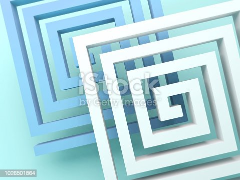 istock Abstract square spirals over blue green 1026501864