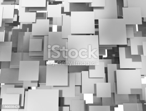 istock 3D Abstract Squares background 186658428