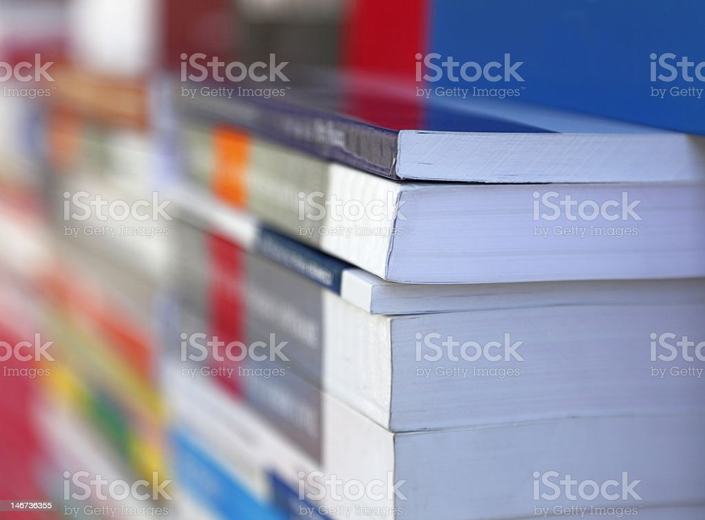 Abstract stack of books at a bookshop stock photo