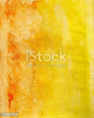 Abstract stained red and yellow paper background texture