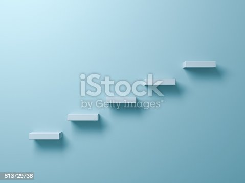istock Abstract stairs or steps concept on light green pastel color wall background with shadow. 3D render 813729736