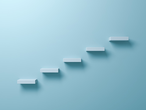 Abstract stairs or steps concept on light green pastel color wall background with shadow. 3D render