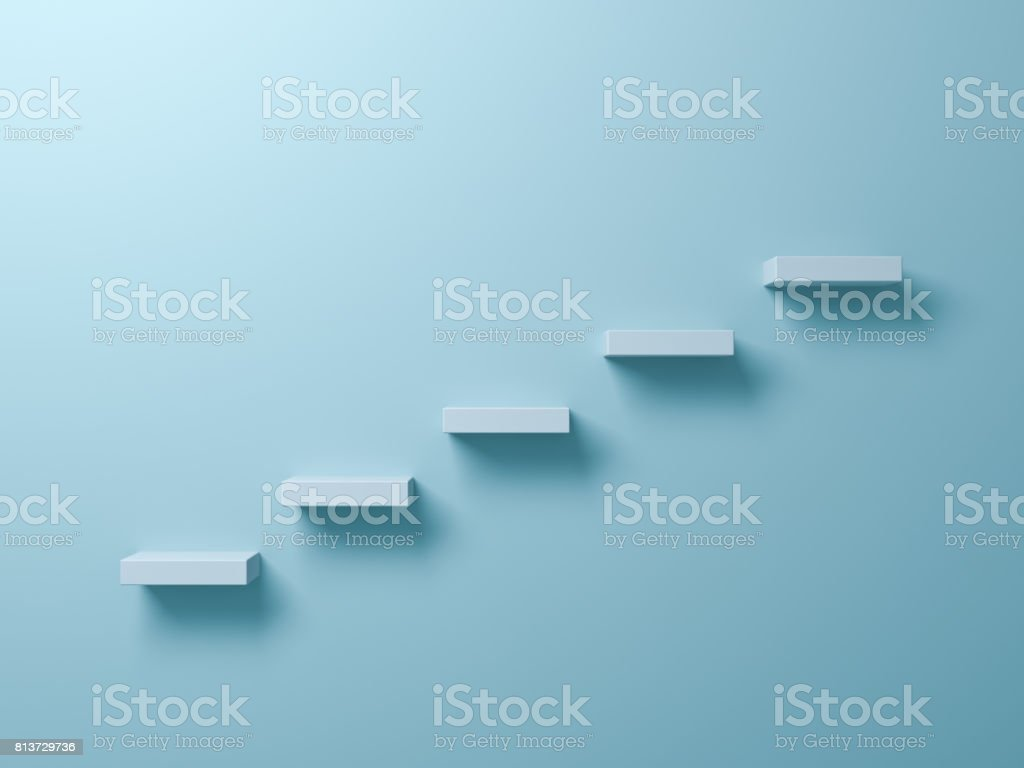 Abstract stairs or steps concept on light green pastel color wall background with shadow. 3D render stock photo