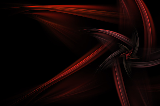 Abstract Star Like Red Fractal Over Black Background Stock Photo - Download Image Now