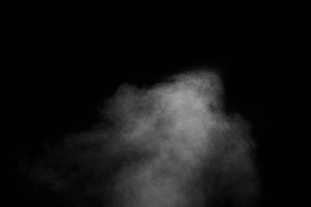 abstrakt ånga med prickar av spray rör sig på en svart bakgrund. tänkte röka kan användas för design - dimma png bildbanksfoton och bilder