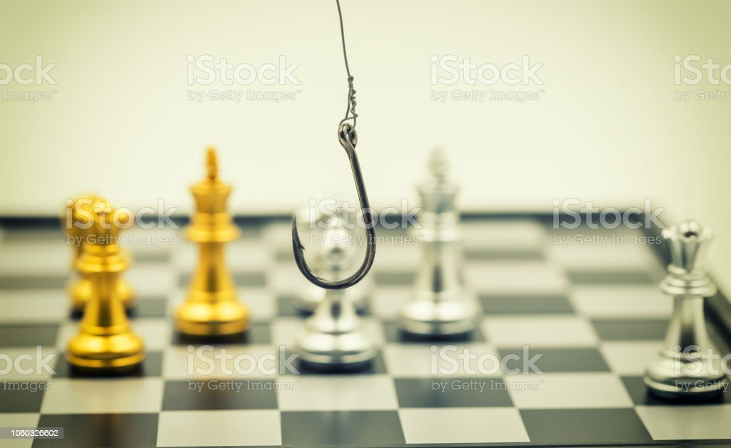 abstract steel hook on chess game for pishing trap vintage filter - can use to display or montage on product stock photo