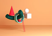 Abstract still life installation, colorful geometric shapes and red ladder. 3d rendering illustration
