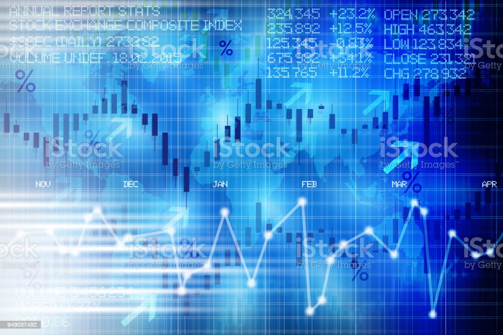 Abstract stock exchange digital display panel suggesting financial market evolution of shares stock photo