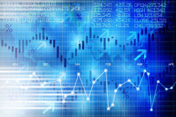 Abstract stock exchange digital display panel suggesting financial market evolution of shares - foto stock