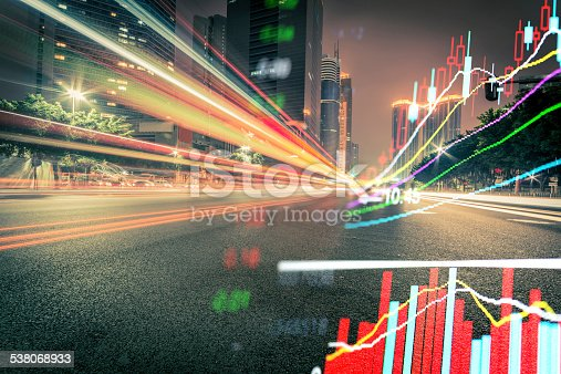 istock Abstract stock market data and city business background. 538068933