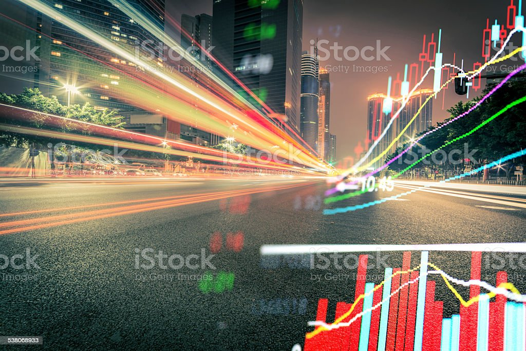 Abstract stock market data and city business background. stock photo