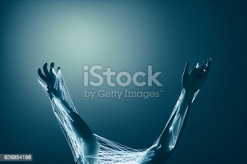 istock Abstract struggling hands 626854198