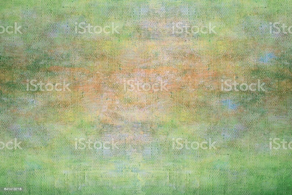 Abstract summer light green oil paint background with brush strokes on canvas. stock photo