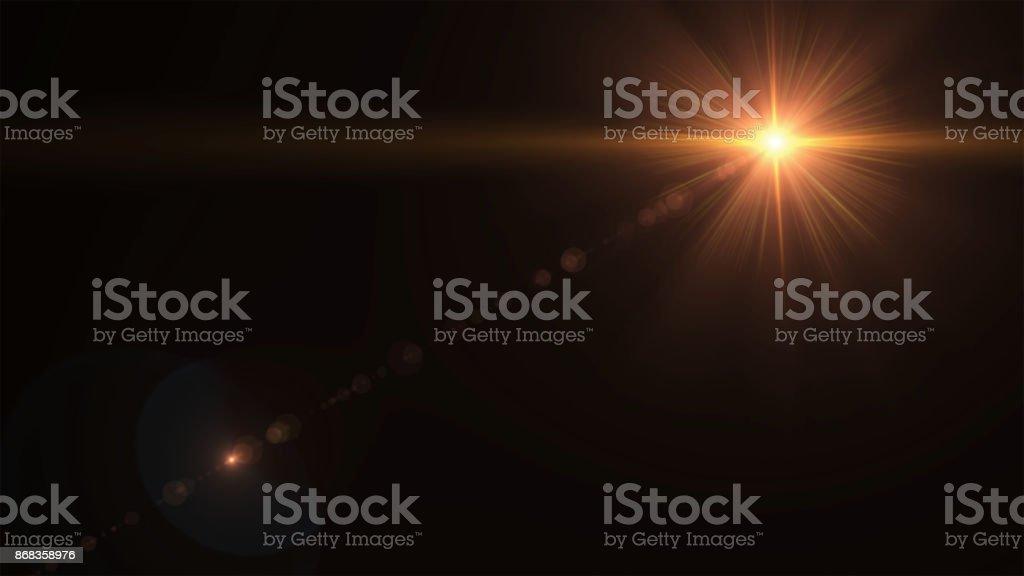 Éclat de soleil abstrait avec lumière parasite numérique sur le fond noir - Photo de Abstrait libre de droits