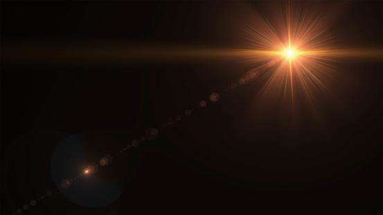 Photo libre de droit de Éclat De Soleil Abstrait Avec Lumière Parasite Numérique Sur Le Fond Noir banque d'images et plus d'images libres de droit de Abstrait
